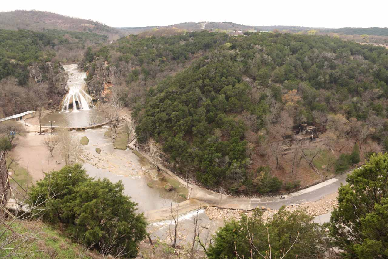 This was perhaps the most comprehensive view of Turner Falls that I could get from the overlook, where I was able to see both the waterfall and castle as well as most of the walkway alongside Honey Creek in one shot