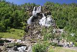 Tvindefossen_013_07242019 - Checking out Tvindefossen from the left side of the viewing area closer to its stream. Just behind me was a calm part of the stream where kids were playing and cooling off