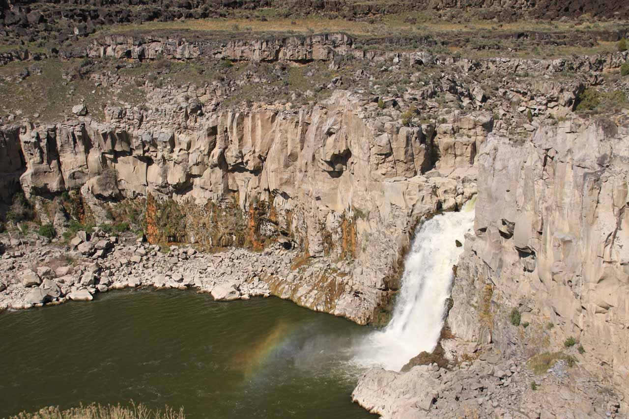 When we first showed up at Twin Falls, there was a slight rainbow near its base