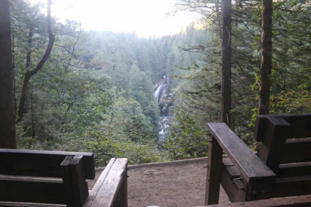 Twin_Falls_Olallie_17_027_07302017 - This was the Twin Falls Overlook, where a pair of rest benches afforded a partial view of the main drop of the waterfall
