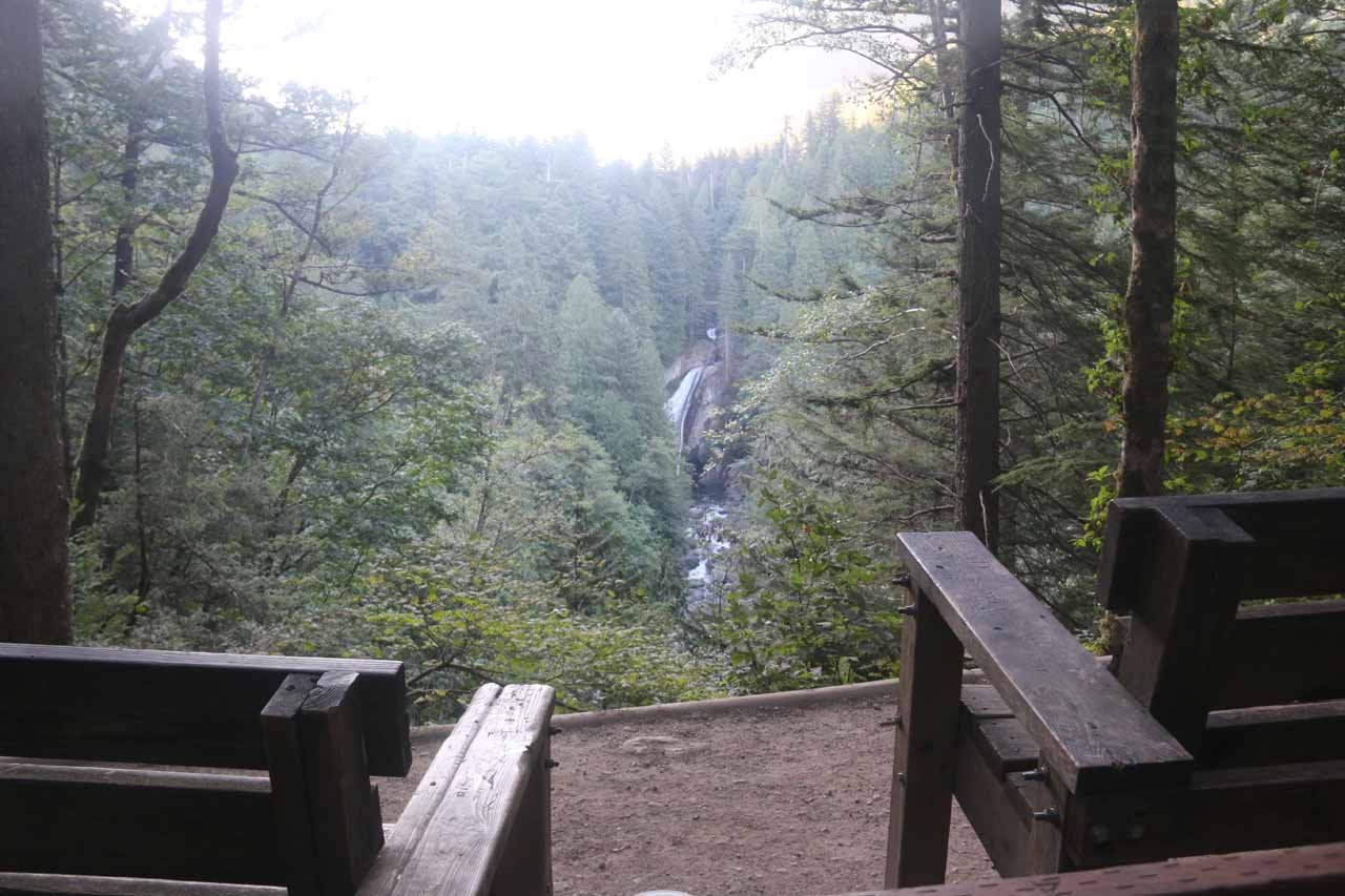 This was the Twin Falls Overlook, where a pair of rest benches afforded a partial view of the main drop of the waterfall