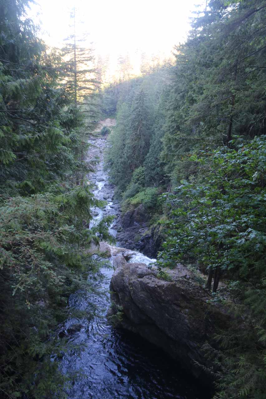 Looking downstream from the bridge towards the brink of the main drop of Twin Falls