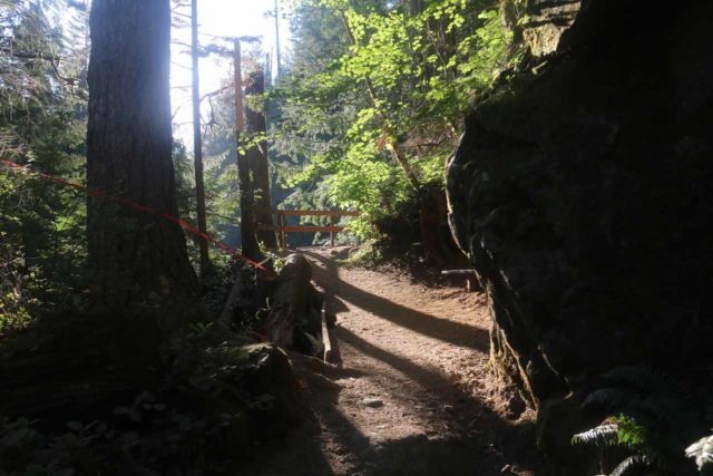 Twin_Falls_Olallie_17_095_07302017 - Approaching a fenced lookout of the upper drop of the Upper Twin Falls, which was looking right against the morning sun during my July 2017 hike