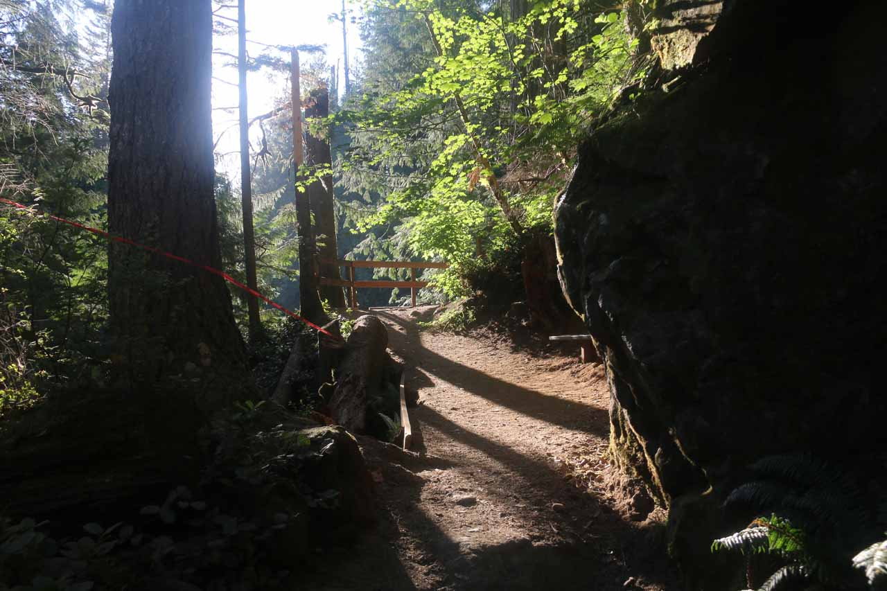 Approaching a lookout with a more direct look at the upper drop of the Upper Twin Falls