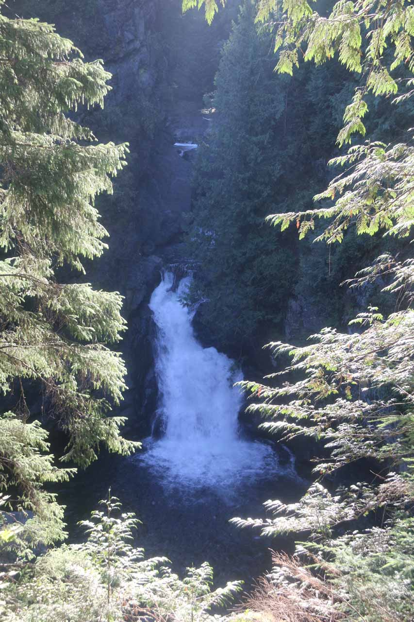 Looking against the sun at the upper drop of the Upper Twin Falls