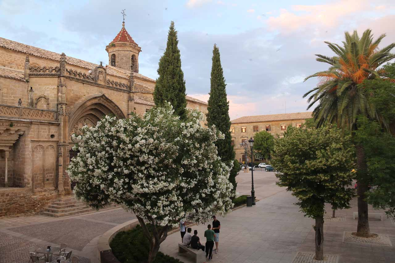 Looking towards the church at Plaza de Primero de Mayo in Ubeda from our apartment balcony