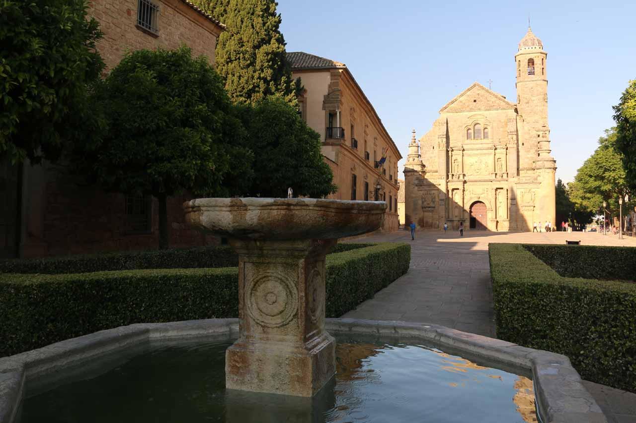 Looking over a fountain towards the Sacra Capilla del Salvadaor in Ubeda