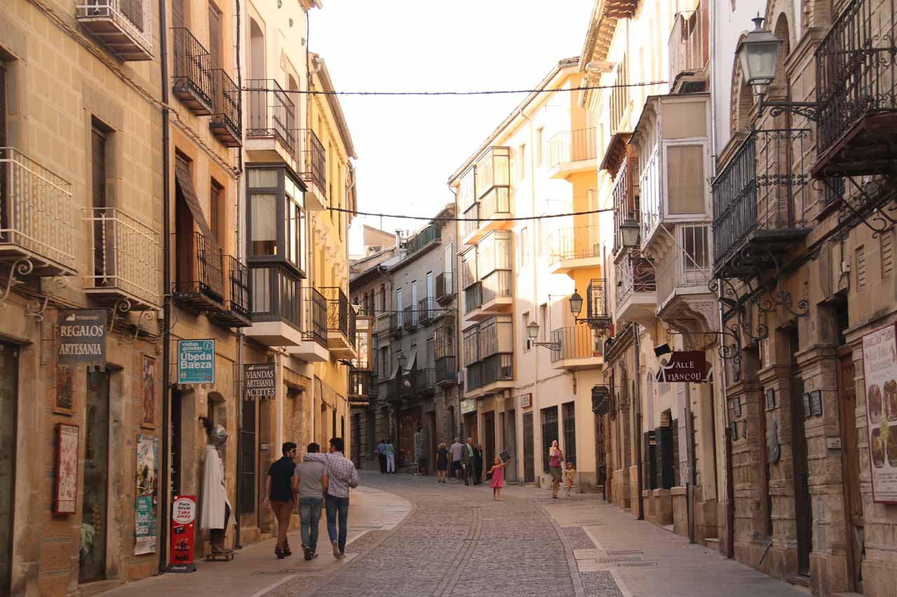 Walking one of the streets leading to the Plaza del Ayuntamiento