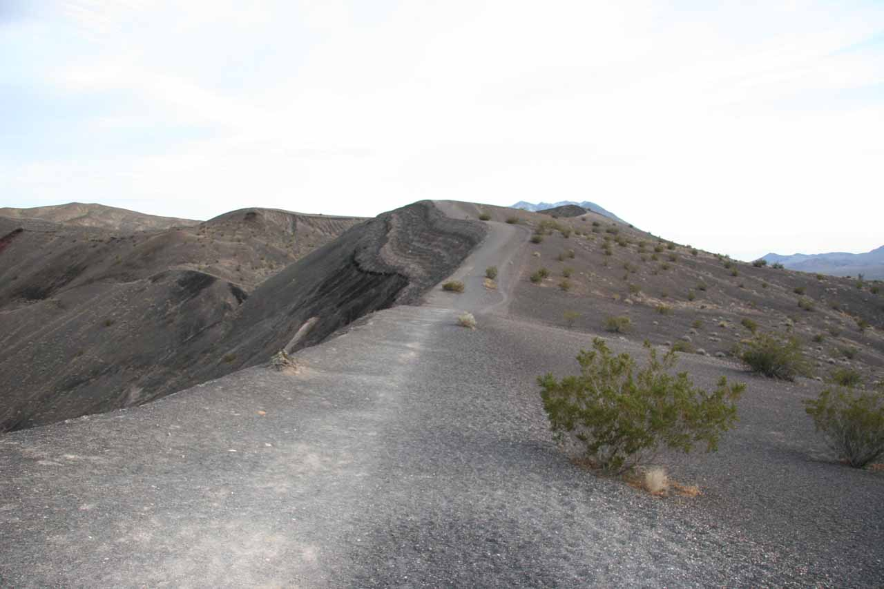 Trail leading around the rim of one of the larger Ubehebe Craters