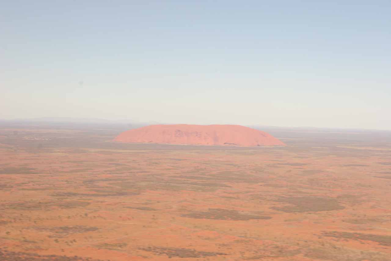Uluru from the air at midday