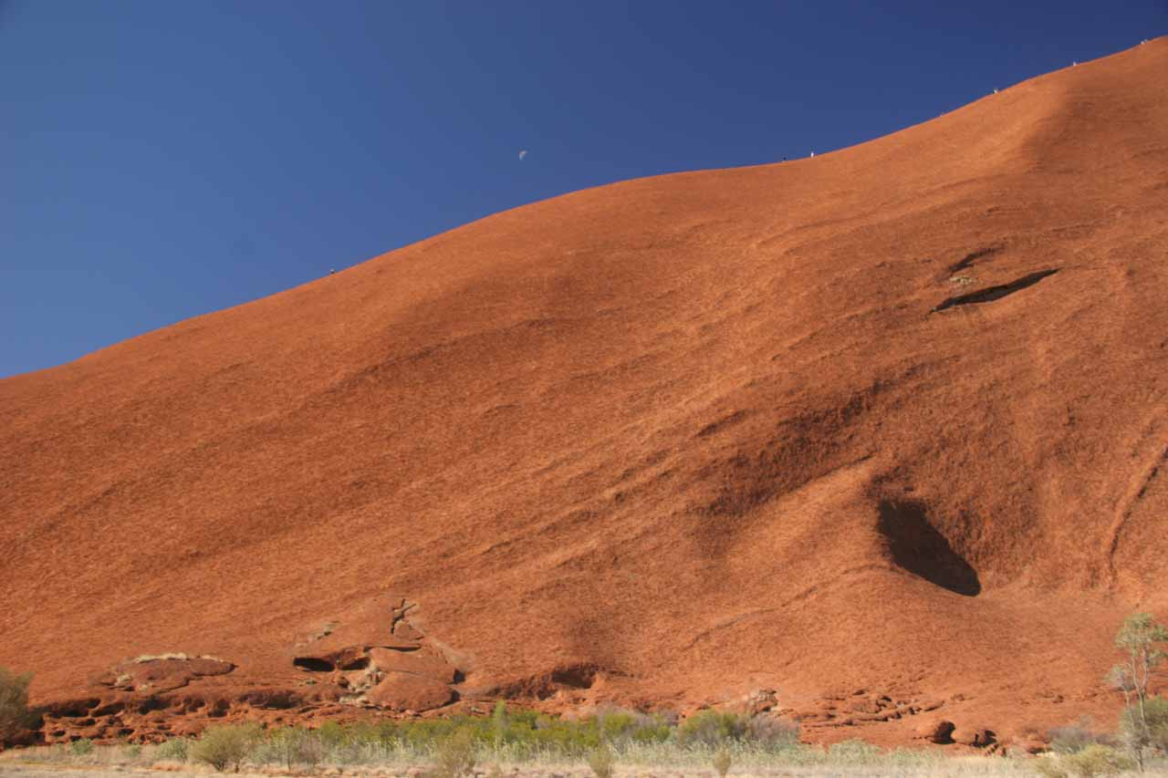 Profile view of part of Uluru with people on the rock against a partial moon in the blue sky