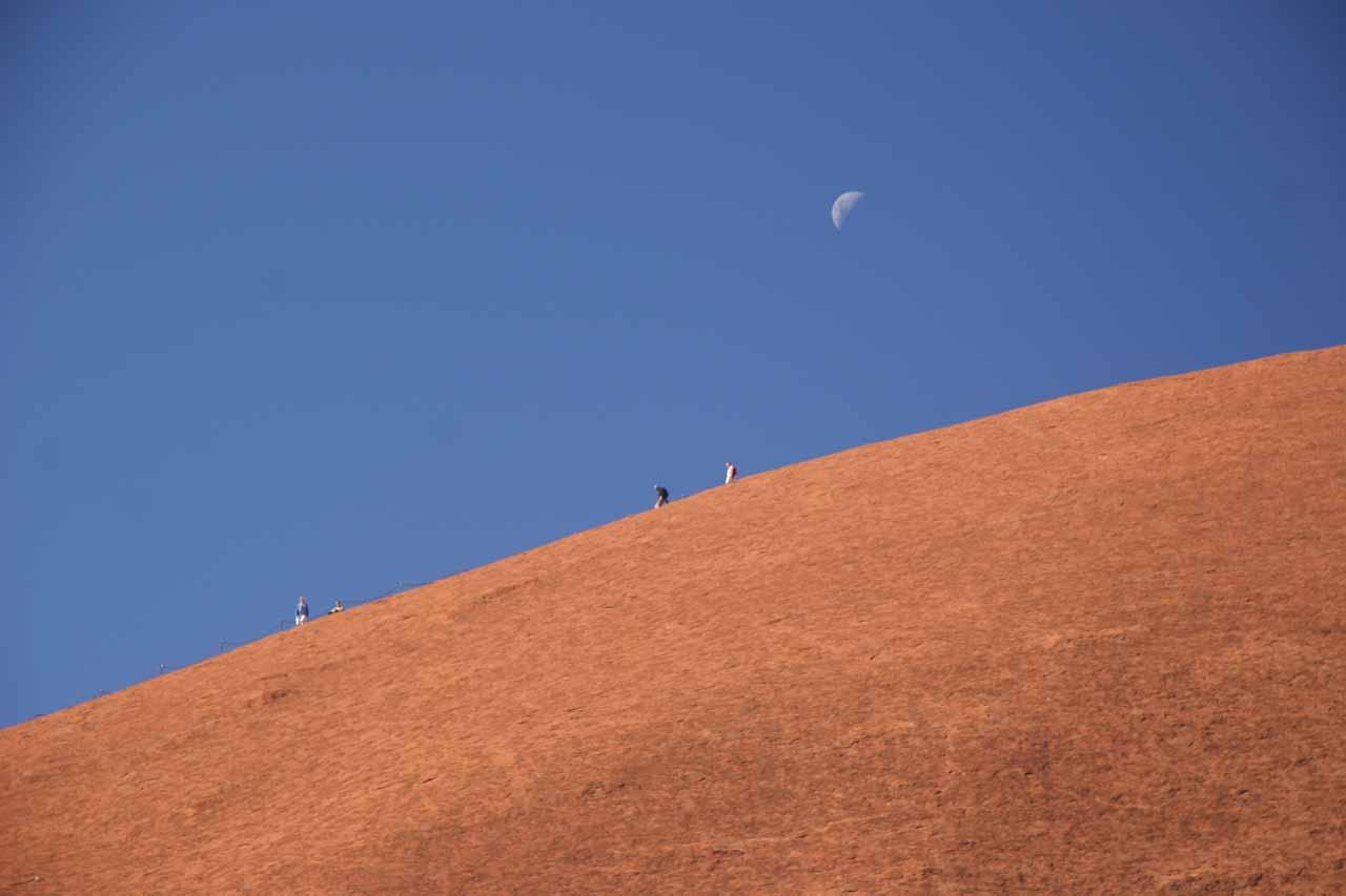 Closer look at people climbing Uluru