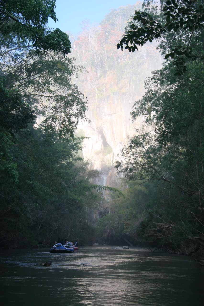 Rafting through the Umphang Wildlife Sanctuary with its dark jungles and tall cliffs lit up by the morning sun