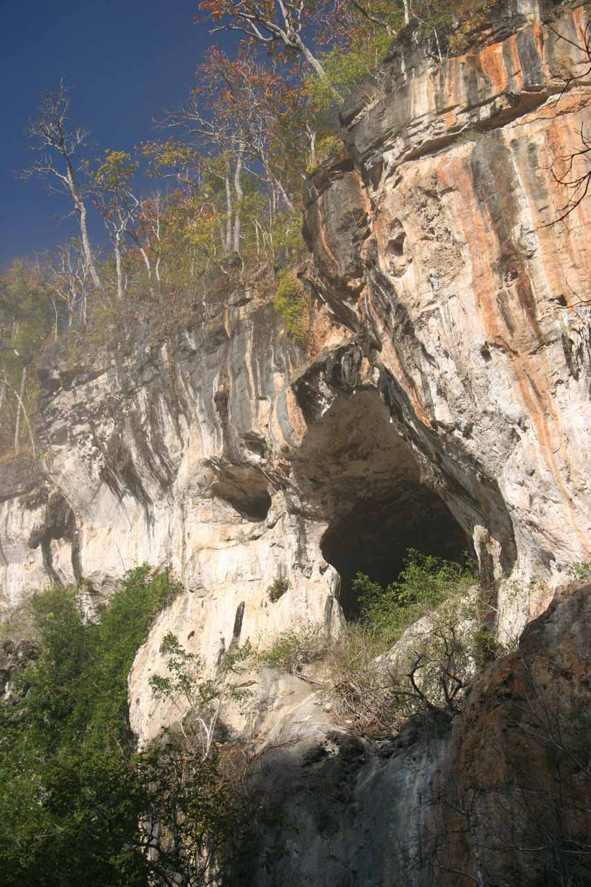 We noticed this interesting cave high up on the cliff while we were rafting through the Umphang Wildlife Sanctuary