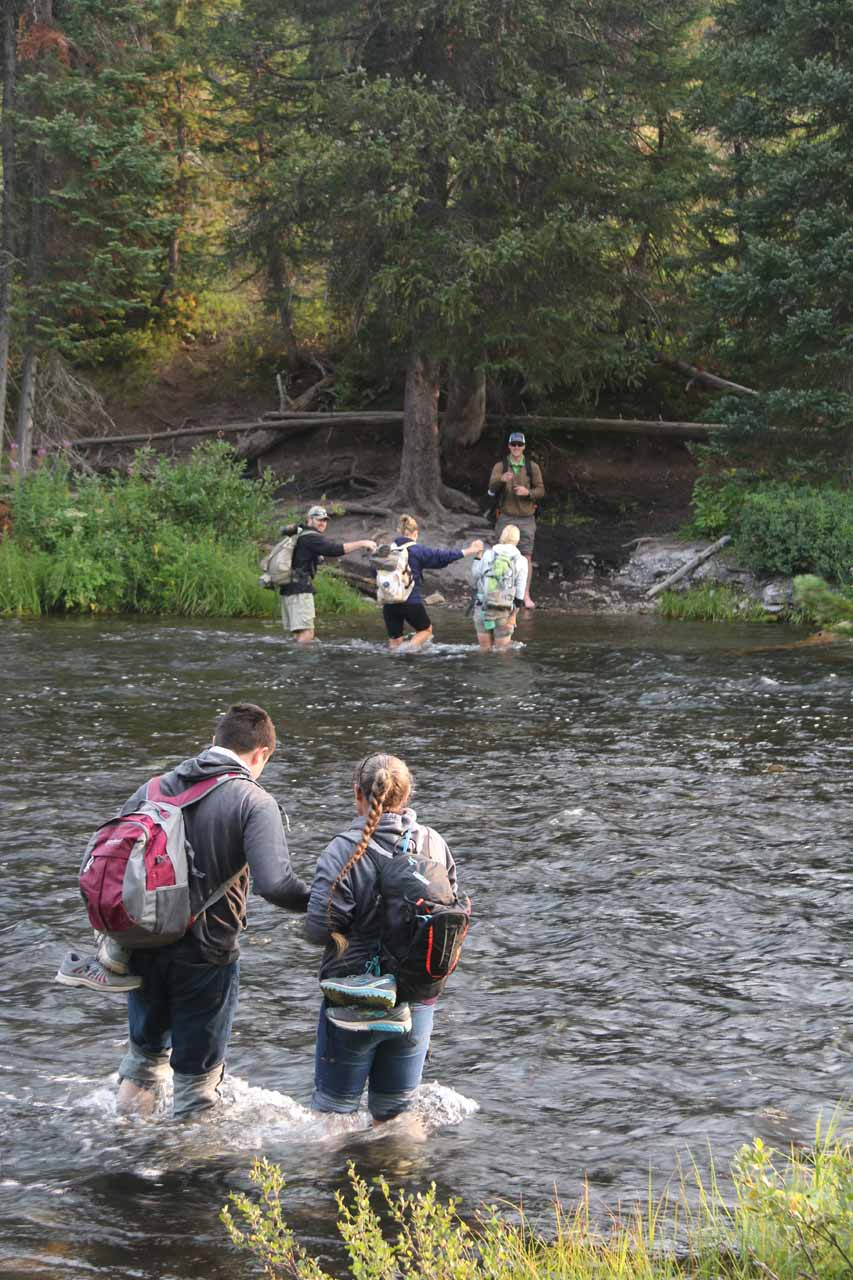 The rest of the hiking group making their ford of the Falls River