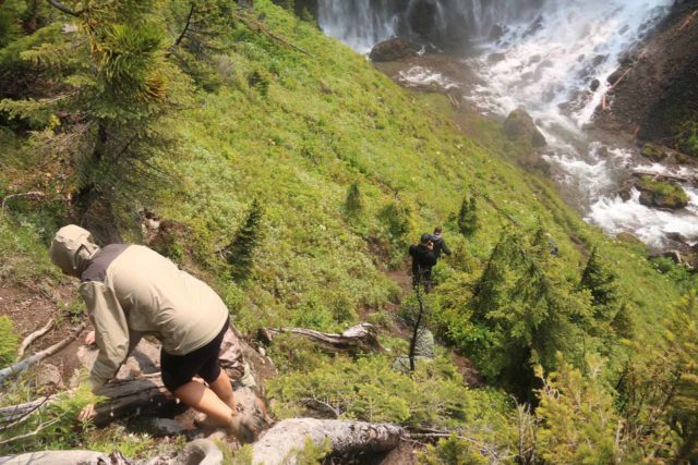Union_Falls_164_08122017 - People doing the steep descent to get down from the overlook towards the base of Union Falls