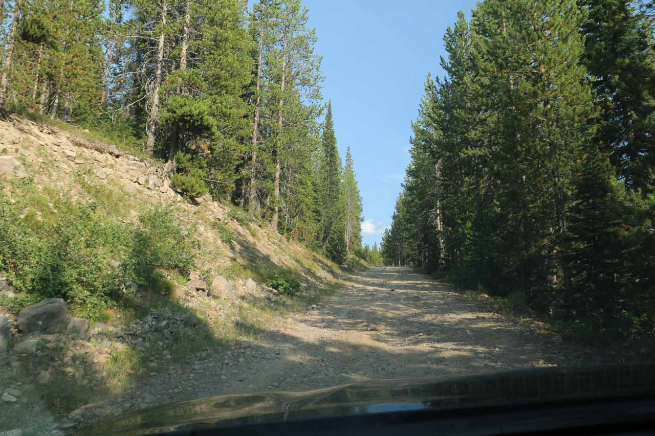 The adventure wasn't over yet as I still had to drive up this rugged road to regain the Grassy Lake Road. The key for me was to gain enough momentum to keep going uphill and keep that momentum or else I'd lose traction and have to back up and start again