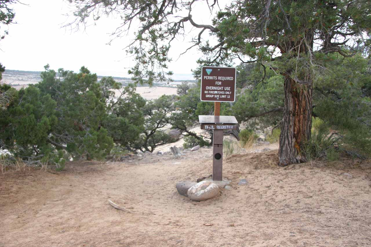 The trailhead register at the start of the hike
