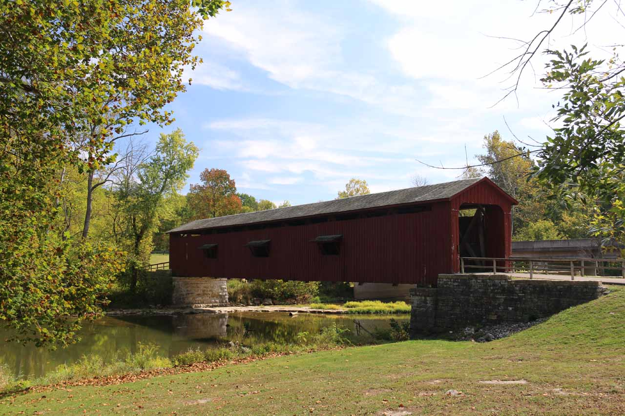 This was the attractive covered bridge upstream from the Upper Cataract Falls