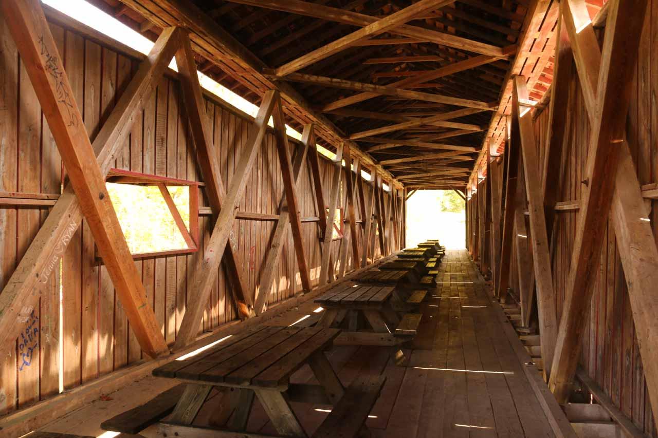 Inside the covered bridge upstream of the Upper Cataract Falls
