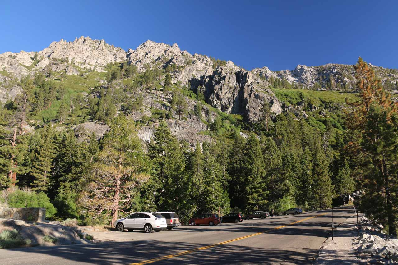 Looking over Hwy 89 and some spillover parking just outside the Eagle Falls Picnic Area and Trailhead
