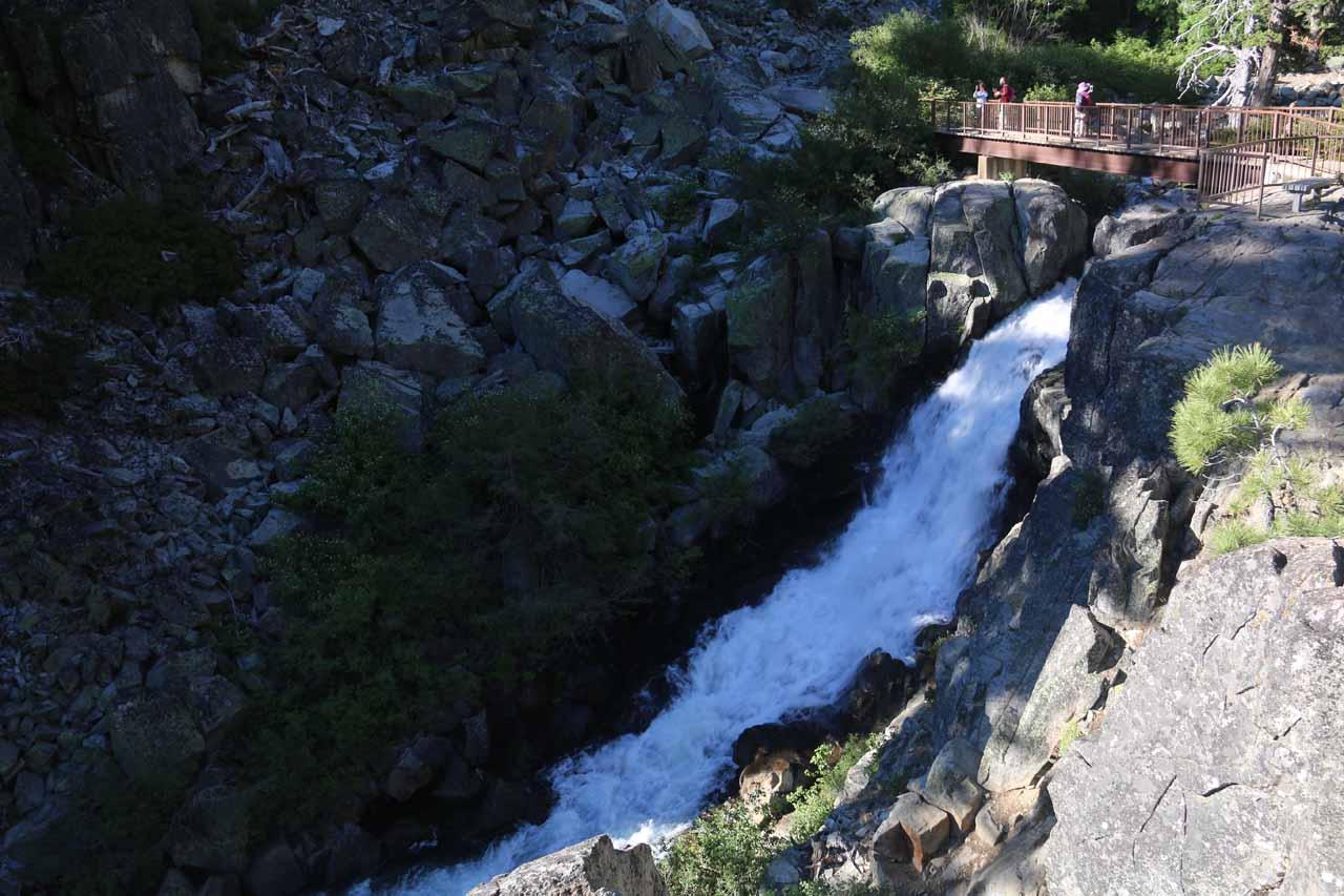 Upper Eagle Falls and the footbridge continuing the trail to Eagle Lake