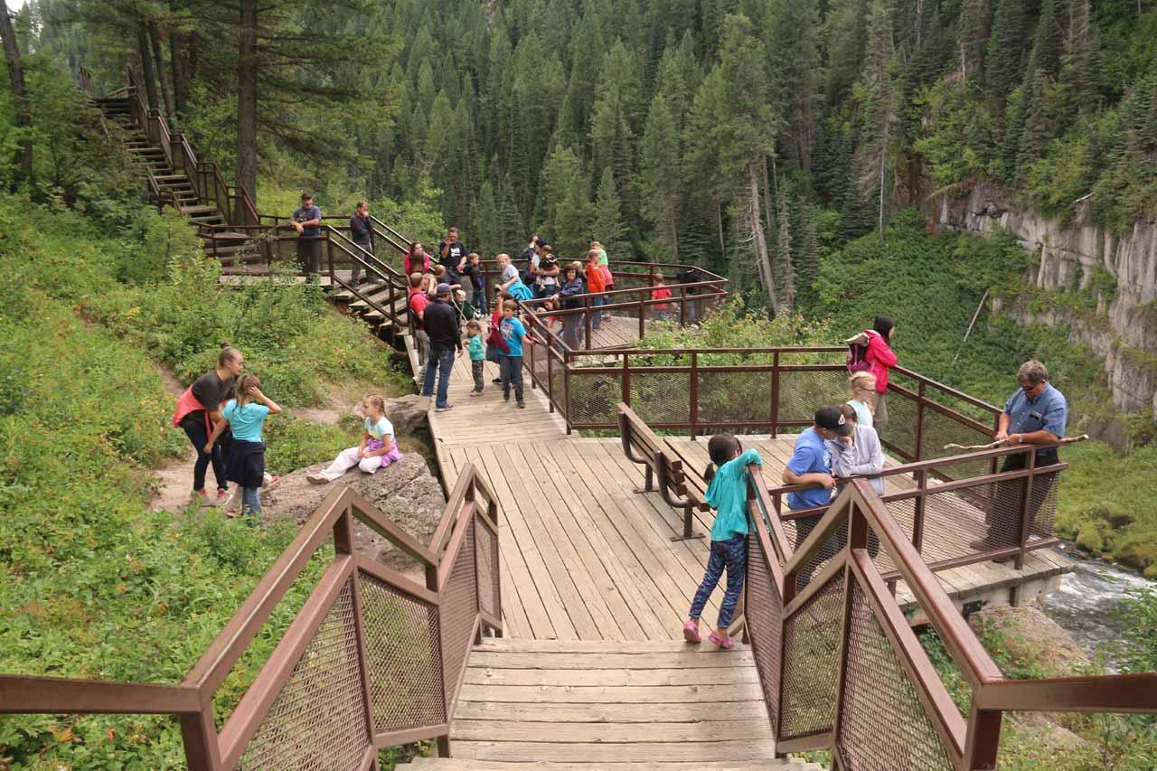 Looking back at the viewing spots right at the brink of Upper Mesa Falls