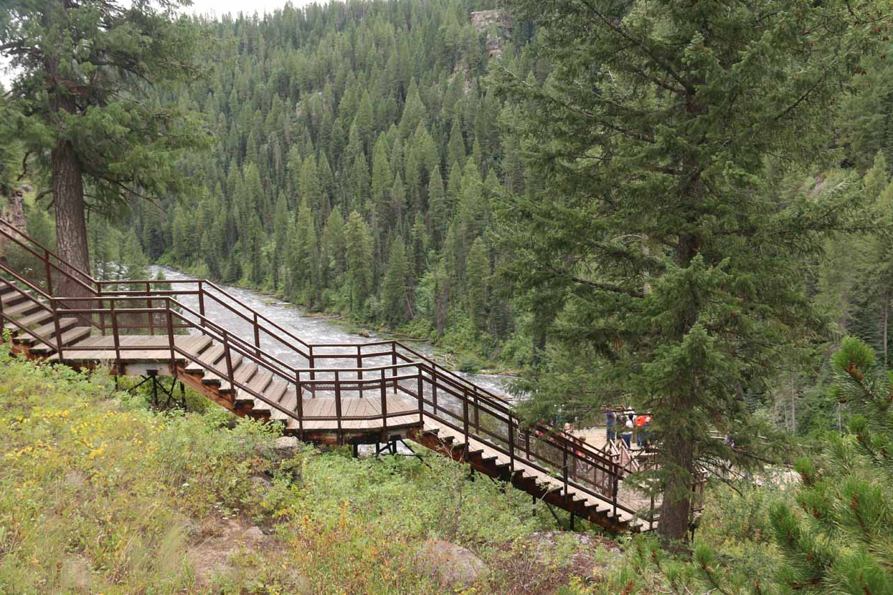 Looking at the stairs that would lead us down to the closest lookouts for the Henry's Fork and the Upper Mesa Falls