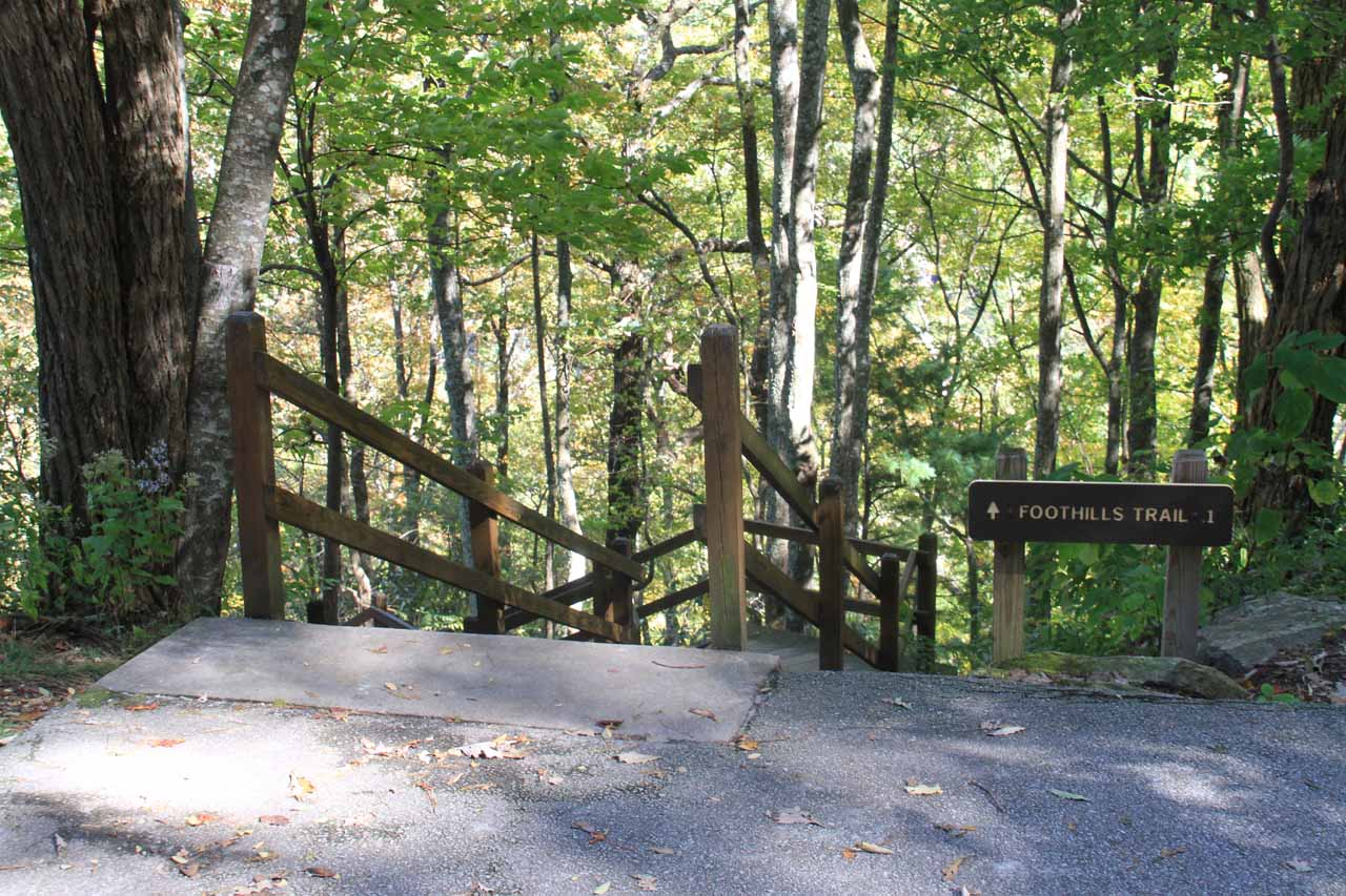 Start of the stairs leading down to the lower overlook