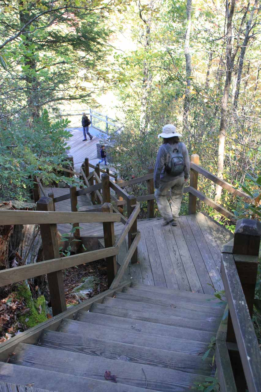 Descending the steps to the lower overlook