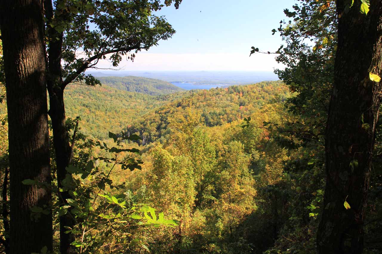 Looking towards Lake Jocassee from the walkway to the Upper Whitewater Falls