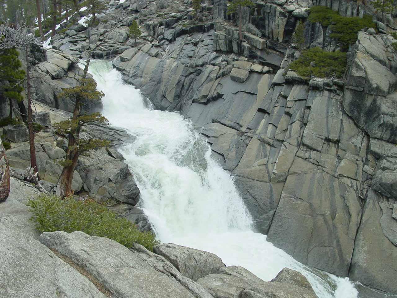 Yosemite Creek rushing towards the brink of Yosemite Falls