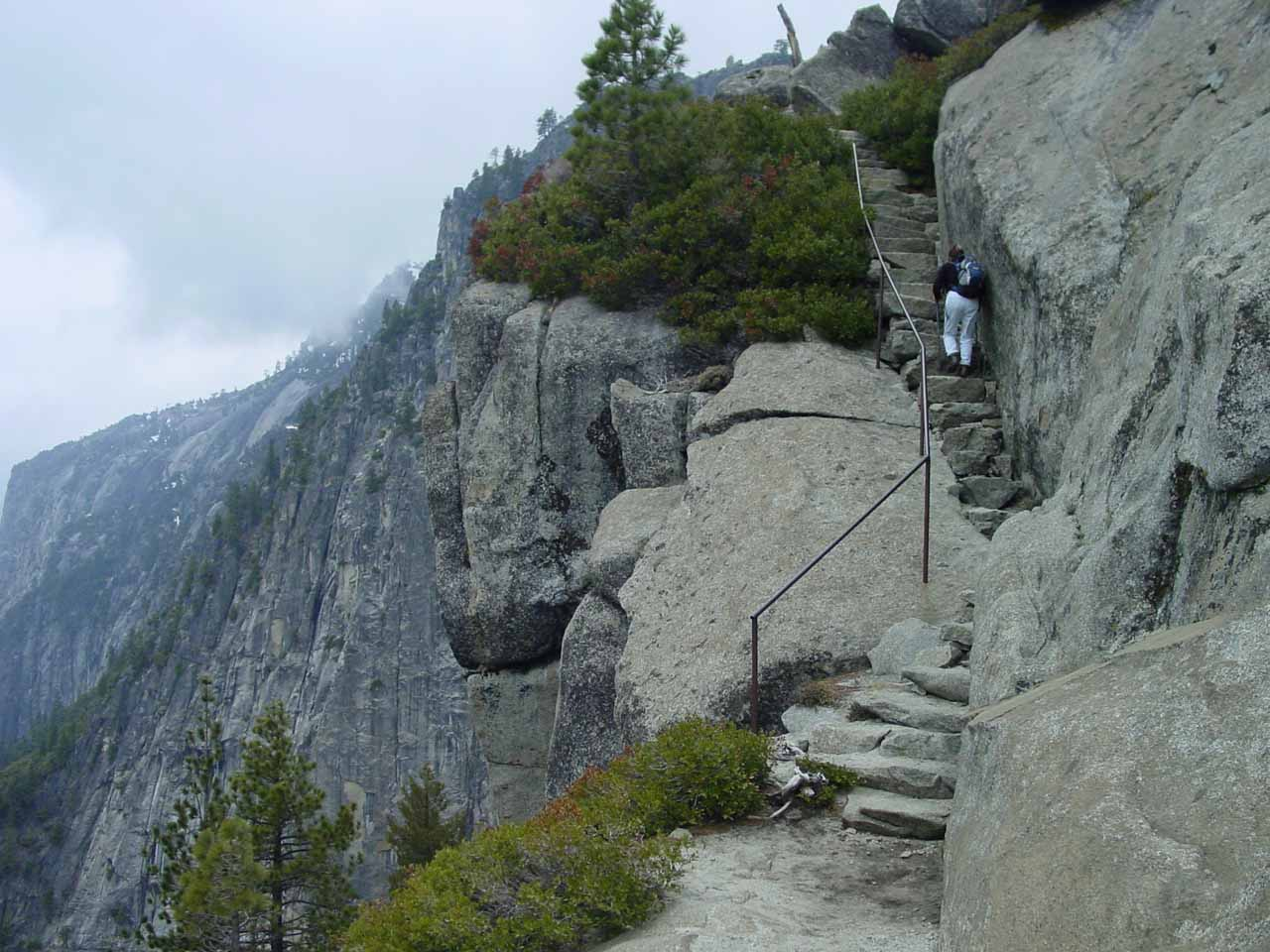 Mom leaving the top of Yosemite Falls