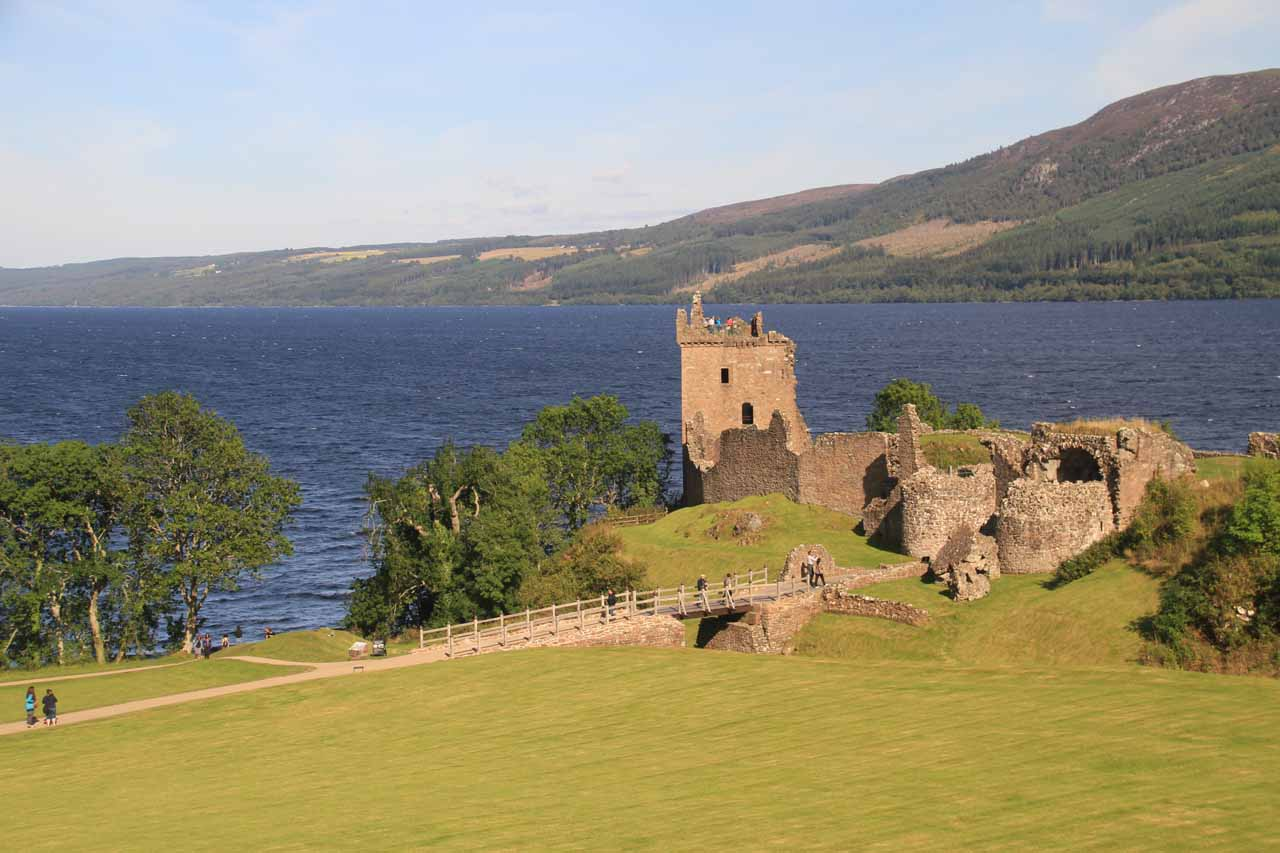 Less than 2 miles beyond Drumnadrochit along the A82 on the other side of Loch Ness was the attractive ruins of Urquhart Castle overlooking Loch Ness itself