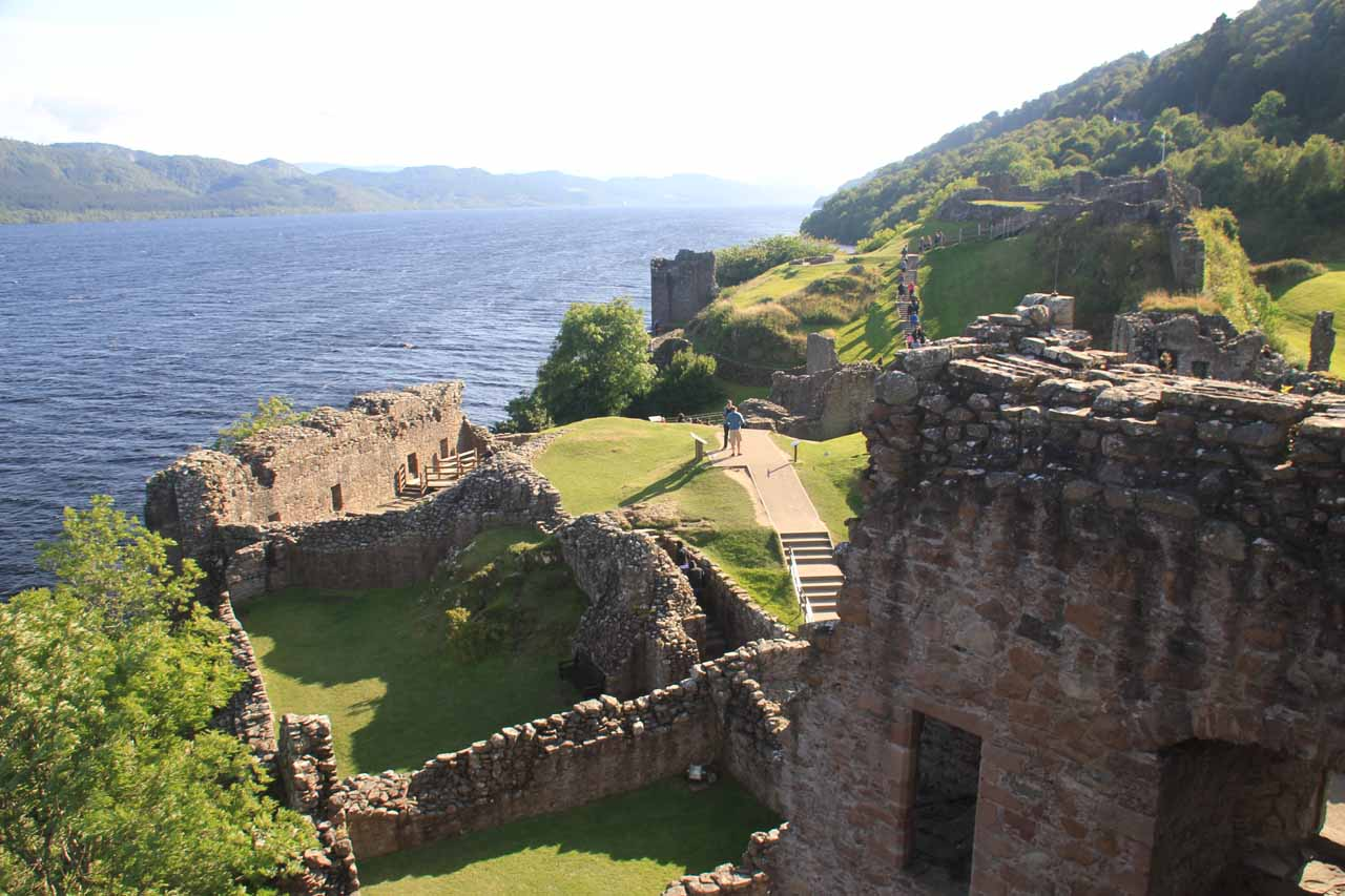 Right on the north shore of Loch Ness just west of Drumnadrochit was the ruins of Urquhart Castle, which was a very popular stop for tours