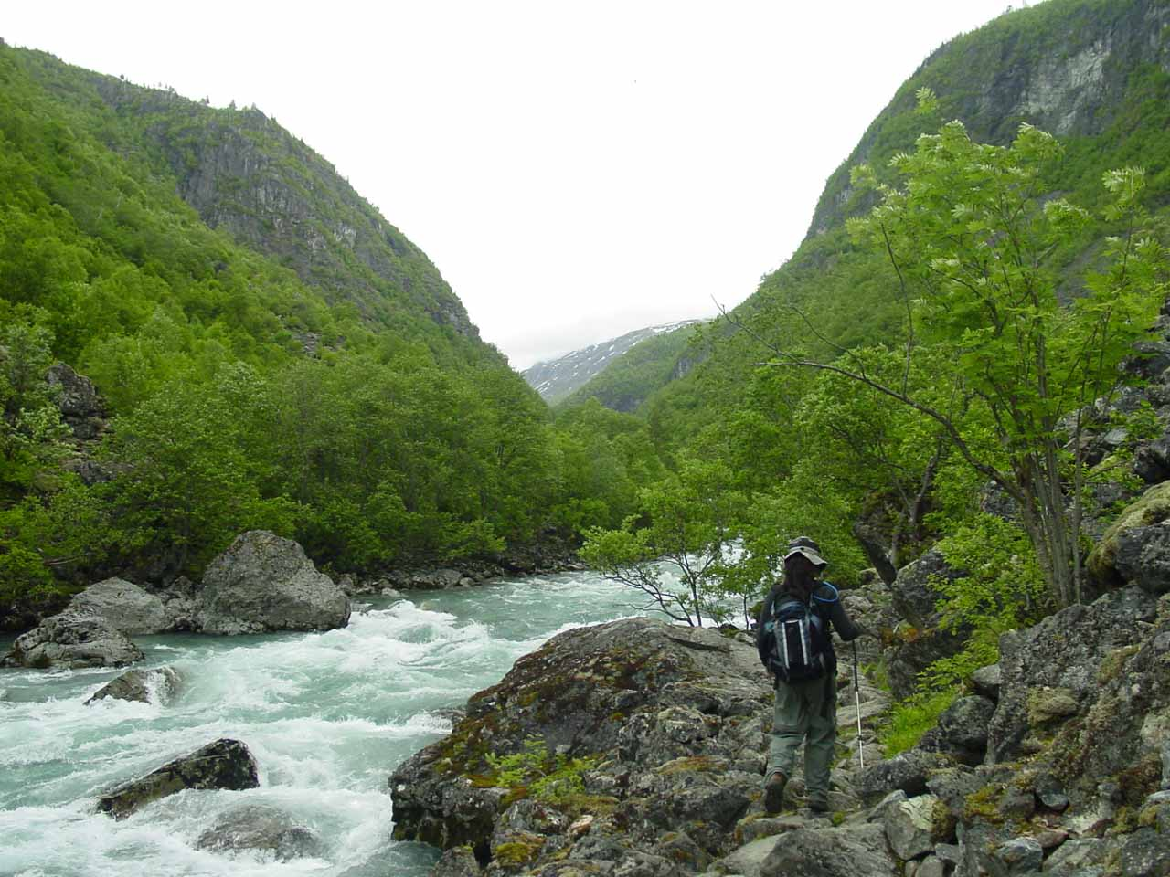 Julie walking awkwardly along the primitive trail beside the river