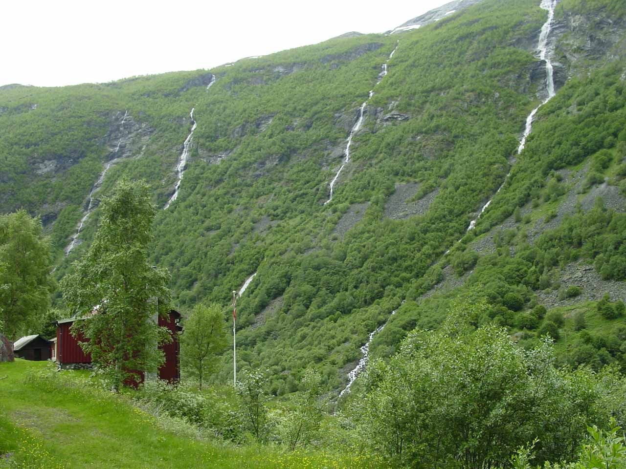 This set of four thin waterfalls tumbling side-by-side with each other was seen near the hamlet of Vetti.  They were on the brooks Nonbekken, Nybekken, and Storebekken