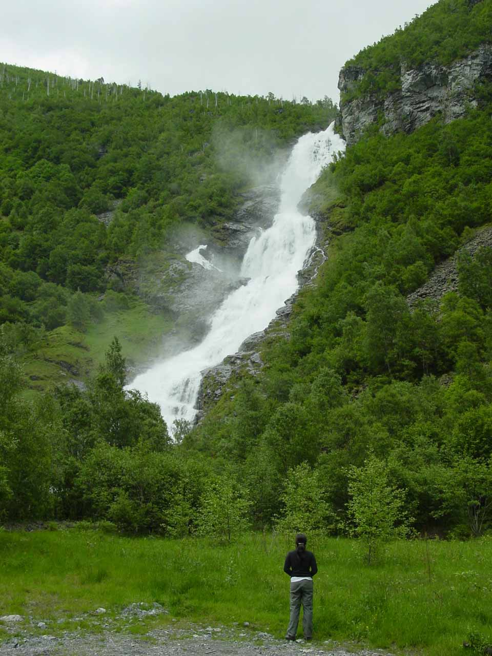 Julie checking out Hjellefossen one last time after we came back from our Vettisfossen hike