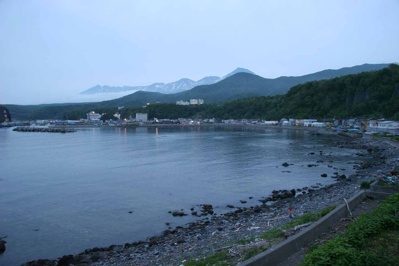 Twilight view towards the town of Utoro from our accommodation at Dolphin Bay