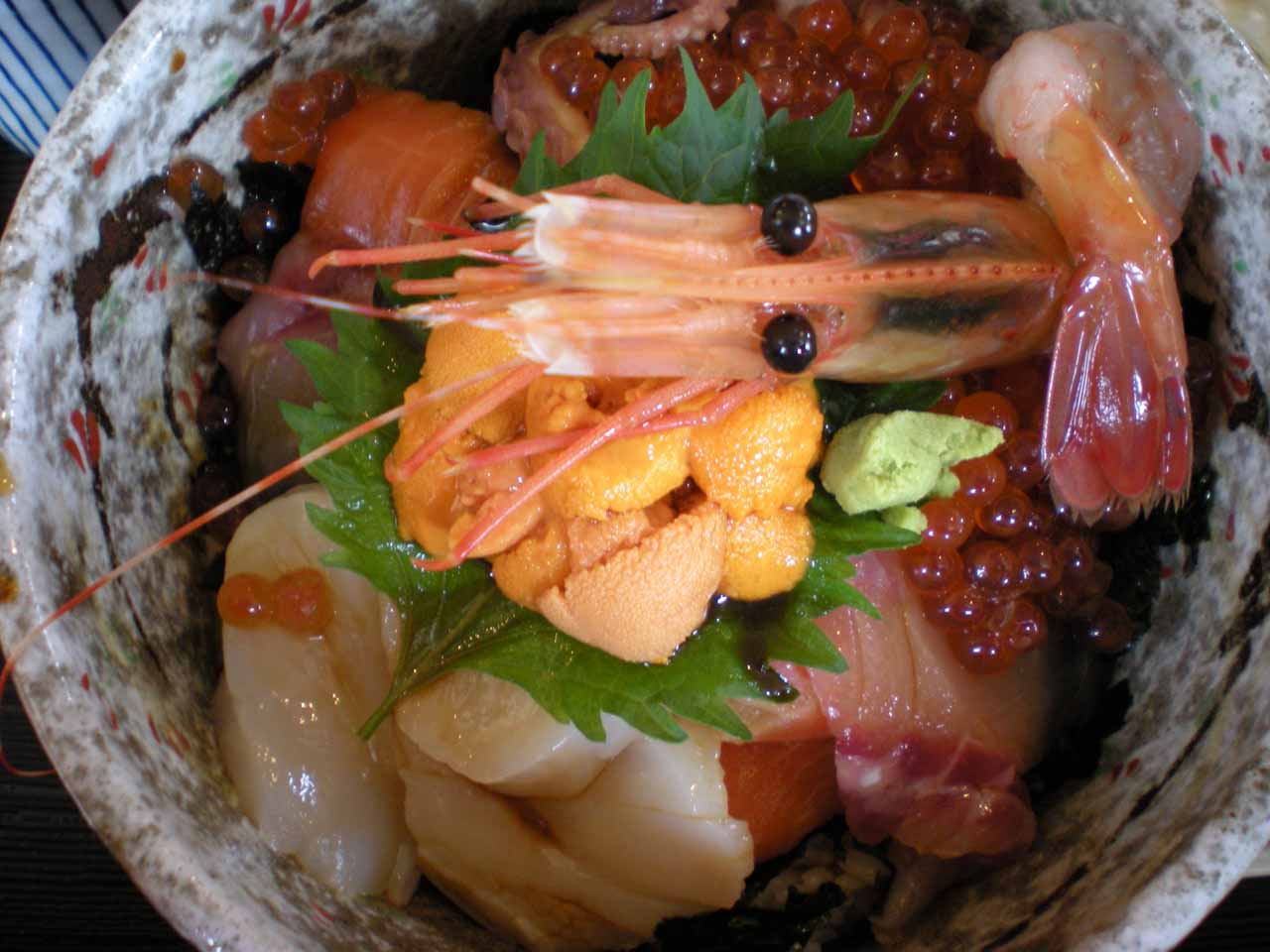 When we were done with our boat tour, we had lunch at a very good place in Utoro where we got this seafood sashimi rice bowl that could very well have been the freshest we had ever eaten