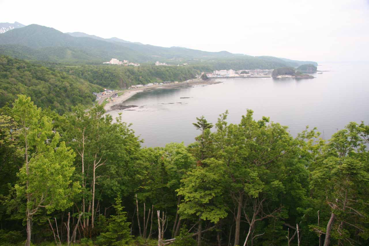 Looking back at the town of Utoro as we headed towards Shiretoko National Park