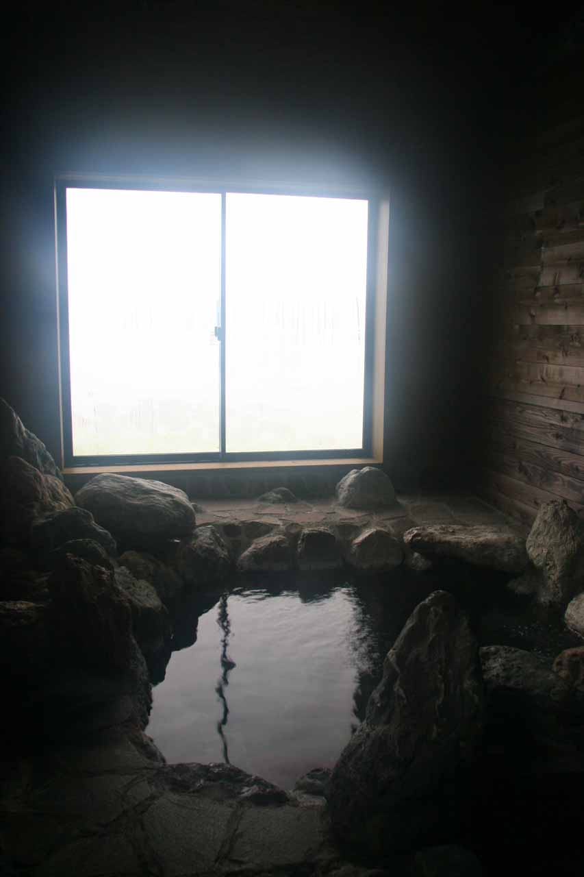 The steamy onsen at the Dolphin Inn