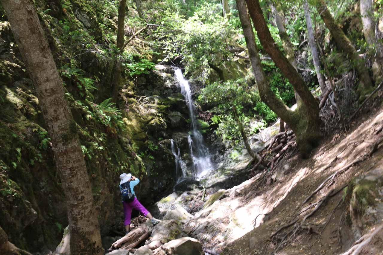 Mom scrambling up to Black Rock Falls