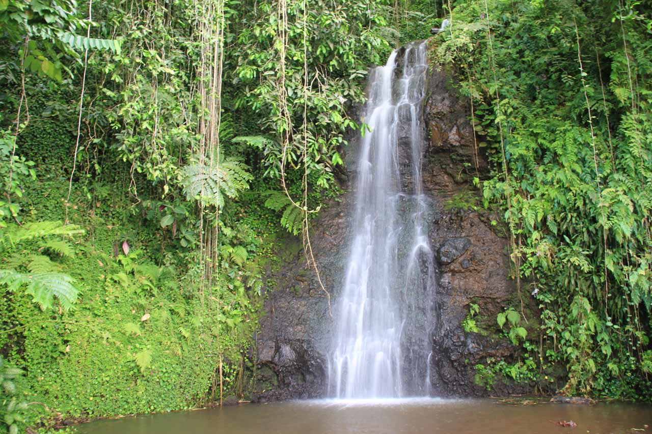 Landscape view of Vaipahi Falls from its plunge pool