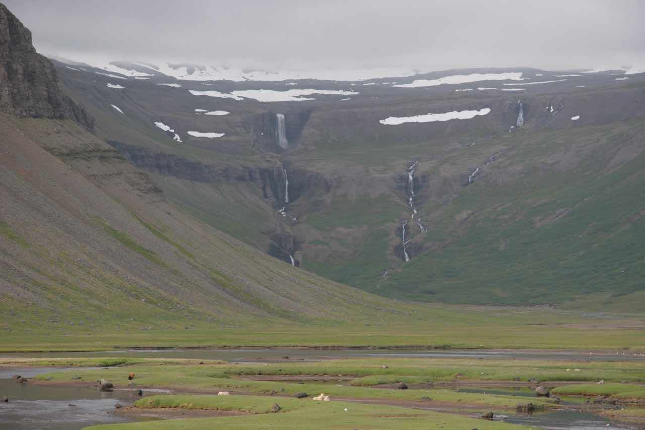 Thunderous waterfalls in the distance at Valagil