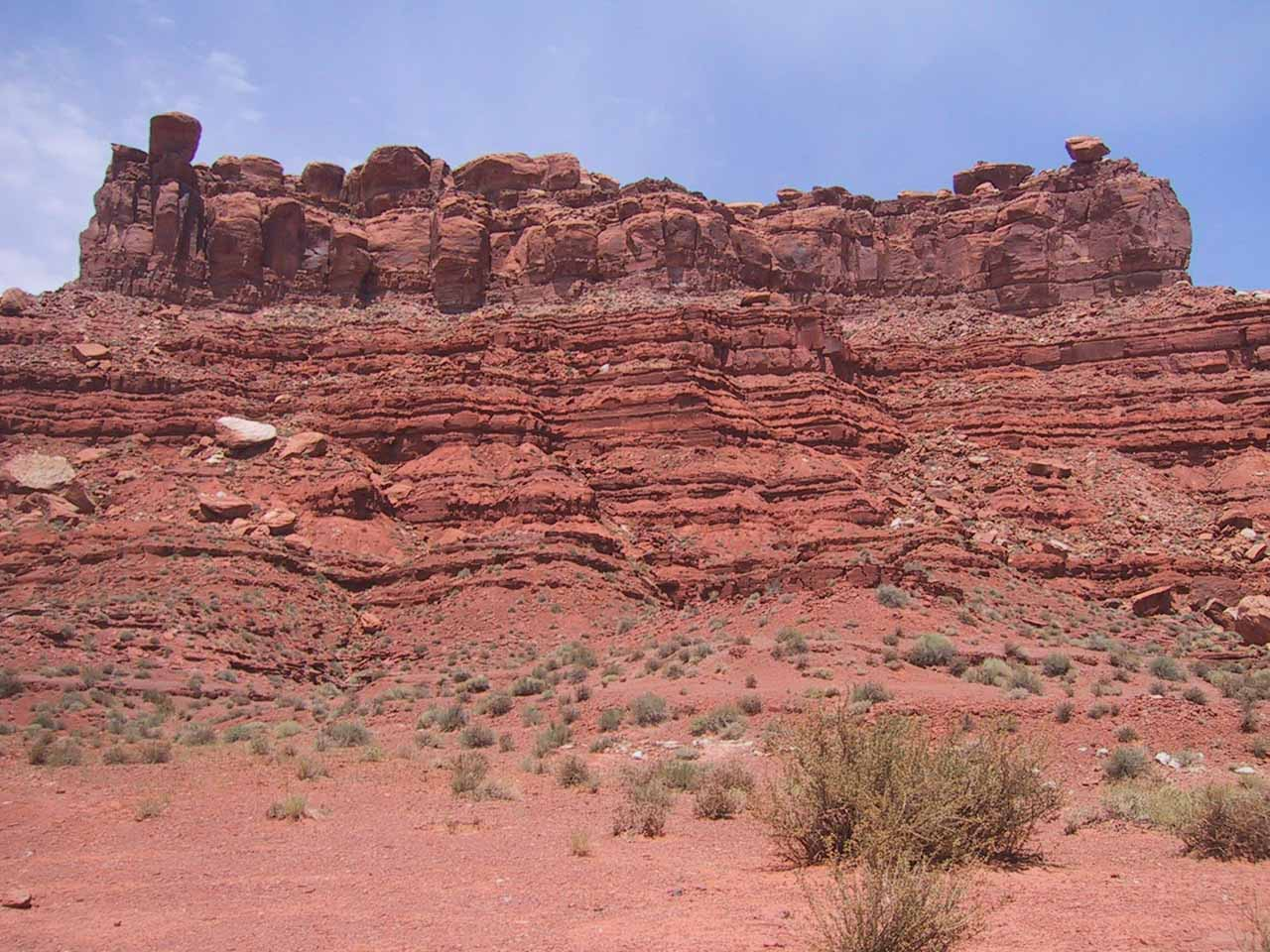 Looking up some imposing cliff walls in Valley of the Gods