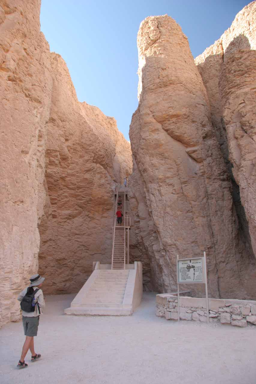 Ascending to the entrance of the tomb of Thutmosis III