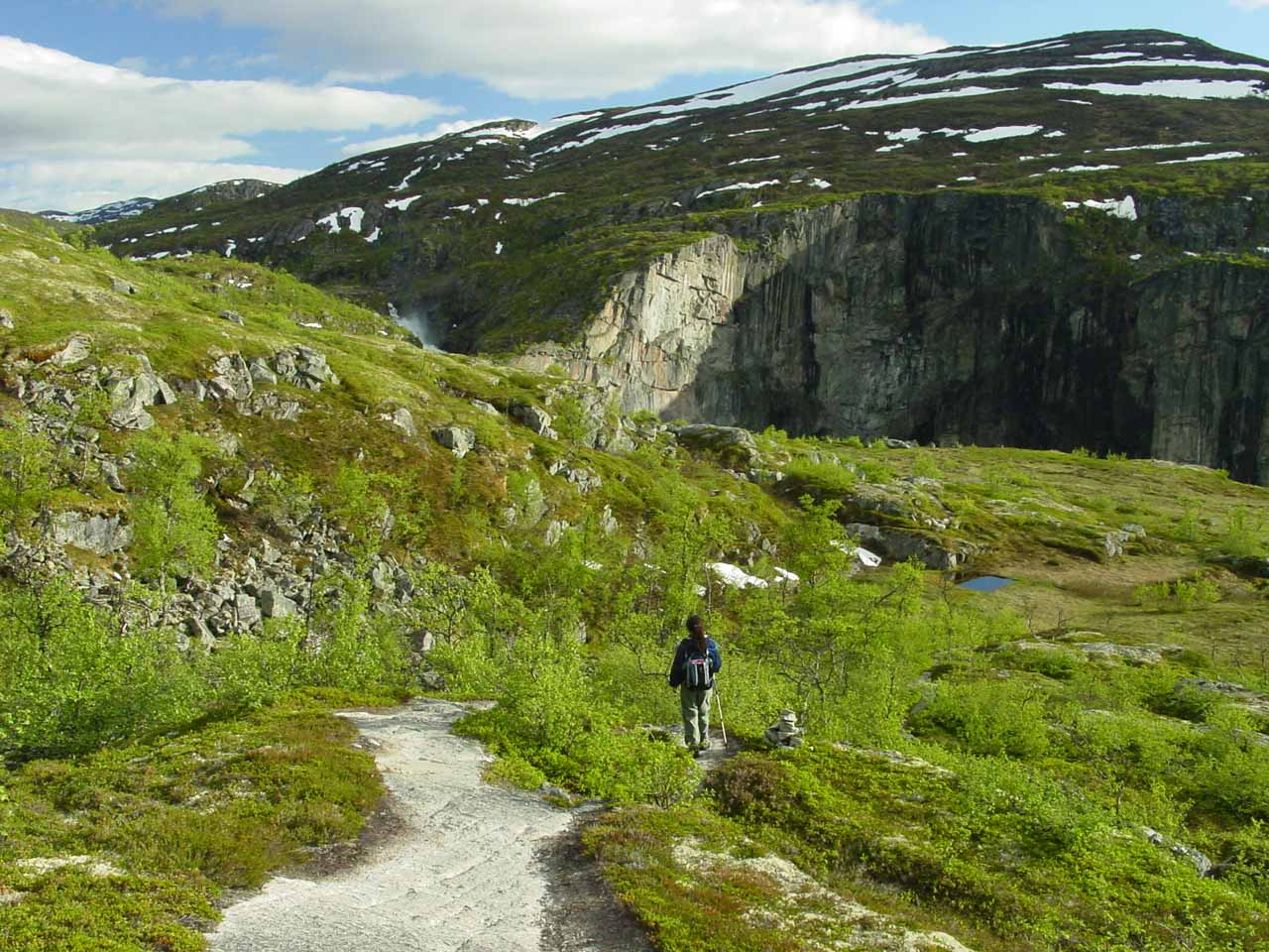 In the high country moors of the Hardanger Plateau in Norway as we hiked towards Valursfossen