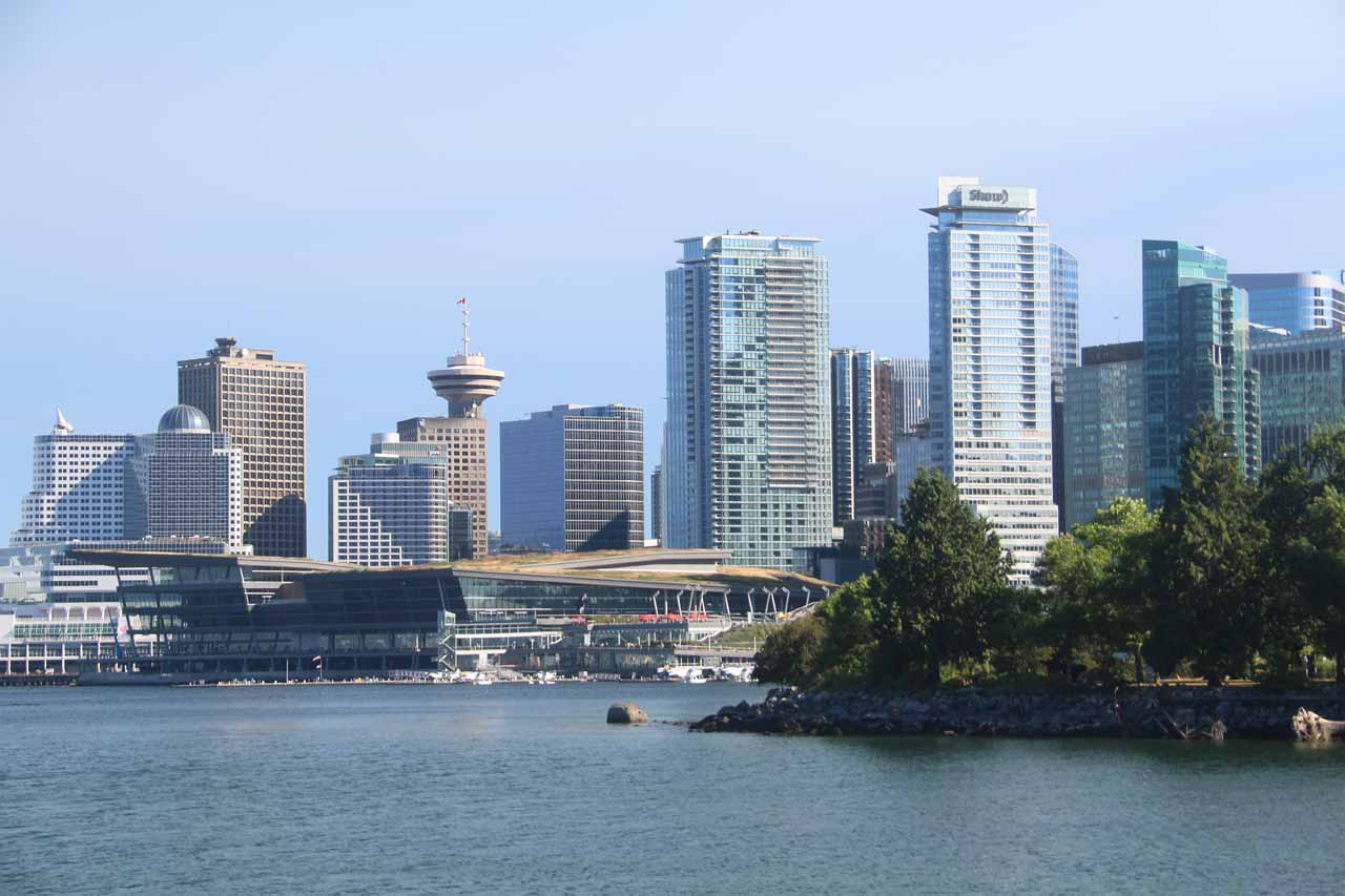 Another nice thing about Stanley Park was the Sea Wall, which featured views back across the water towards the skyline of downtown Vancouver