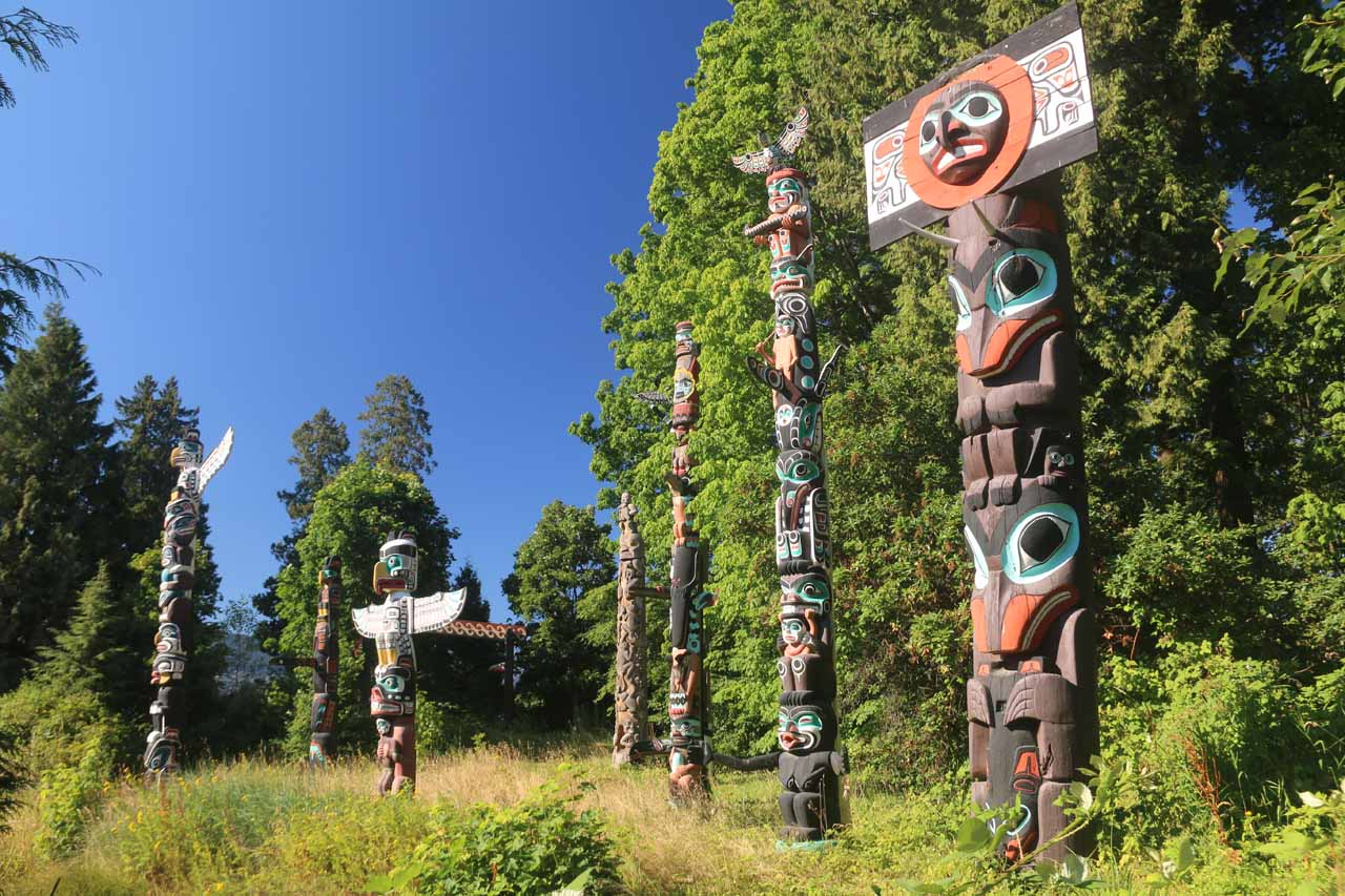 On the drive up to the Sea to Sky Highway from Vancouver, we had to pass through Stanley Park, which featured quite a few things to see like these popular First Nations Totem Poles